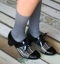 CHIE MIHARA SHOES OSIAS BROGUE OXFORD PUMP LACE UP BLACK PATENT MULTI 39.5 $408