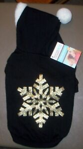 NEW Size Medium Black w Gold Snowflake Fleece Hooded Hoodie Dog Pet Sweatshirt