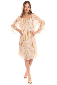 OTTOD'AME Crepe Shift Dress Size 46 L Two Tone Patterned Self Tie Made in Italy