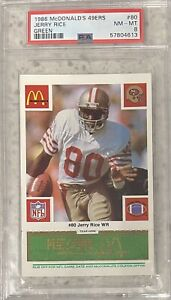 """1986 McDonalds 49ers Green """"Play to Win"""" Jerry Rice #80 PSA 8 NM_MT"""