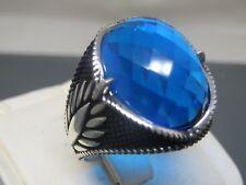 Turkish Handmade Jewelry 925 Sterling Silver Aquamarine Stone Men's Ring Sz 12