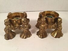 BRASS MUSICAL ANGEL CANDLE HOLDERS