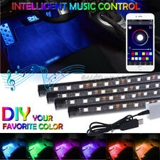 4X RGB 12 LED Car Interior USB Neon Atmosphere Strip Light Kit Music APP Control
