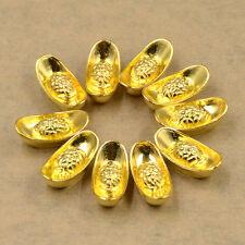 Lucky Money Gold Ingot Feng Shui Ornaments for Wealth Fortune Alloy Decor 10pcs