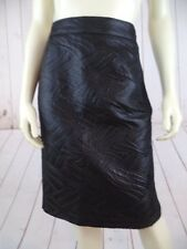 Jenny Skirt 48 Italy 14 US (Runs Small) Black Embossed Shiny Acetate Wool Blend