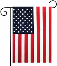 18'X12.5' American Garden Flag Embroidered Stars Sewn Stripes&Garden Flag Pole