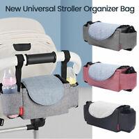 Baby Stroller Pram Pushchair Organizer Mummy Bag Storage Buggy Bottle Holder OZ