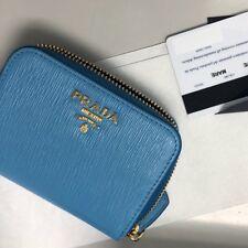 Prada VITELLO MOVE Leather Coin Purse 1MM268 BLUE (MARE)