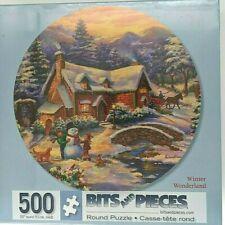 """""""Winter Wonderland"""" 500-Piece ROUND Jigsaw Puzzle  - snowman cottage sleigh snow"""