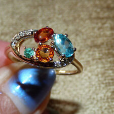 Sapphire, Emerald and Apatite Gold Ring   1.61ct