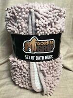 NEW Gorilla Grip Original Shaggy Chenille 2 Piece Area Rug Set Dusty Rose HTF