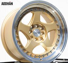 Aodhan Ah01 16X8 4X100/114.3 Et15 Gold Rims Fits Civic Miata Integra Wide Body