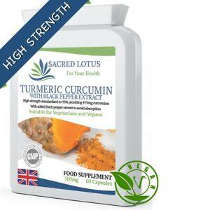 SACRED LOTUS TURMERIC 500 mg & BLACK PEPPER  95% CURCUMIN (475 MG)  60 CAPSULES