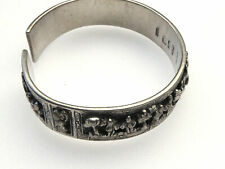 Antique Chinese Silver Wedding Storyteller Bracelet Hallmarked Signed Many Marks