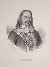 Litho Portrait AMIRAL RUYTER MARINE HOLLANDE NEDERLAND SICILE LOUIS XIV 1835