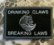 VELCRO® BRAND HOOK Fastener Drinking Claws & Breaking Laws Black Patches 3x2""