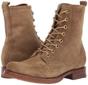 Women's Frye Veronica Combat Boots Cashew Suede Size 8.5 RRP $392