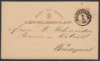 30087) Ungarn NYIREGYHAZA 1877 Ganzsachen Postkarte nach Budapest