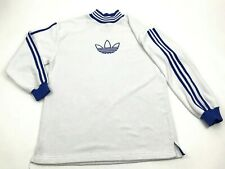 Vintage Adidas Mock Neck Fleece Sweater Size Small S White Embroidered Trefoil