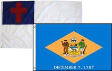 2x3 Christian Christ & State Delaware 2 Pack Flag Wholesale Combo 2'x3'