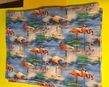 Pink Flamingo Cotton Canvas Place Mat SET OF 4 Tropical Beach Party Summer Decor