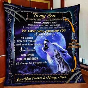 Personalized My Wolf Quilt Blanket, Fleece Blanket Printer In Us