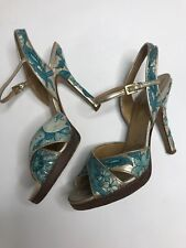 Valentino Garavani Gold with Teal Embroidered Heels 39