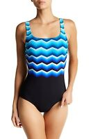 REEBOK Striped   One Piece Swimsuit- Blue/Black-NWT - SZ 12, 14, 16, 18