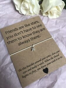 ⭐️ Friends Are Like Stars Wish bracelet/anklet Missing You Gift Distance Quote⭐️