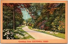 postcard Ohio - Greetings from Leetonia - wooded path flowers - NYCE