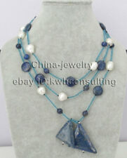 """P8129 - 56"""" 8-12-15-35mm natural white freshwater pearl & lapis lazuli necklace"""