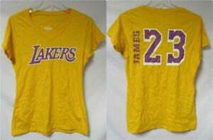 Los Angeles Lakers LeBron James #23 Women's Size Small V-Neck T-Shirt A1 4187