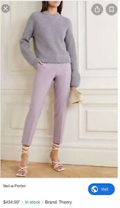 Theory $435 lilac silk dress pants pant trousers slight crop purple 0 6 XS