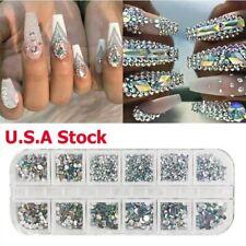 12 Box Crystal Rhinestone 3D Glitter Glass Diamond Gems Nail Art Decoration