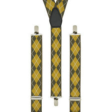 Argyle Diamond Mustard Tan Clip On Trouser Braces Elastic Suspenders Handmade UK