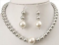 8MM Gray/12MM White South Sea Shell Pearl Round Beads Necklace + Earrings Set