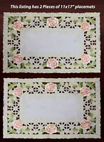 """2PCS Embroidered Rose Daisy Floral Cutwork Pastel Easter Ivory Placemat 11x17"""""""