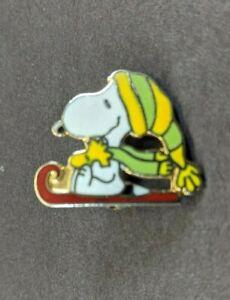 Peanuts Snoopy Riding Sled w/ Woodstock Enamel Brooch Pin Aviva United Feature