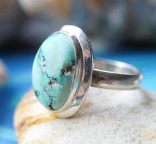 Silberring 56,5 Türkis Grün Braun Modern Handarbeit Ring Silber Schlicht Elegant