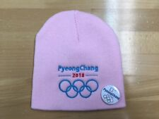 PyeongChang 2018 Olympic Embroidered Pink Beanie with free Pin / Button