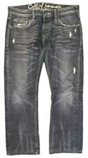 Cult Of Individuality Mens Jeans Size 34x34 Rebel Straight Button Fly Black Gray