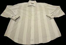 Johnston & Murphy Men's L/S 100% Cotton White Striped Button Up Shirt sz M EUC