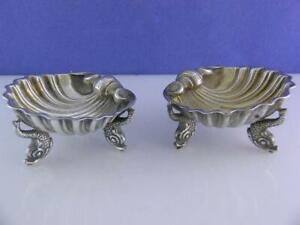 pr English Sterling Salt Dishes Cellars GEORGE W ADAMS London 1870 Dolphin Fish