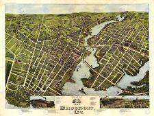 MAPPA Bridgeport 1875 VINTAGE 12 x 16 pollici art print poster foto hp2189