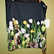 VICTORIA BECKHAM TARGET BLACK FASHION PHOTO FLORAL SKIRT X-LARGE NWT