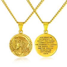 Classic Men Women Christian Jesus Stainless Steel Bible Pendant Necklace Chain
