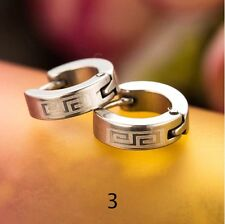 Men Women Unisex Trendy & Chic Punk Huggie Stainless Steel Hoop Earrings Gift Type 3