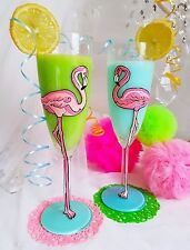 HAND PAINTED PERSONALISED WINE GLASS CHAMPAGNE FLAMINGO SET BIRTHDAY 30 50th 21