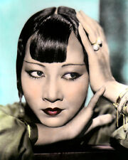 "ANNA MAY WONG CHINESE AMERICAN MOVIE STAR ACTRESS 8x10"" HAND COLOR TINTED PHOTO"