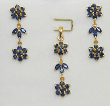 14k Solid Flower Dangle Stud Earrings Pendant Set with Natural 3.5TCW Sapphire